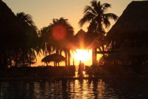 Flamingo Beach resort solnedgång